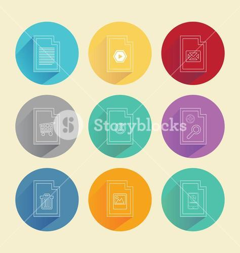 Colourful circles with computing icons