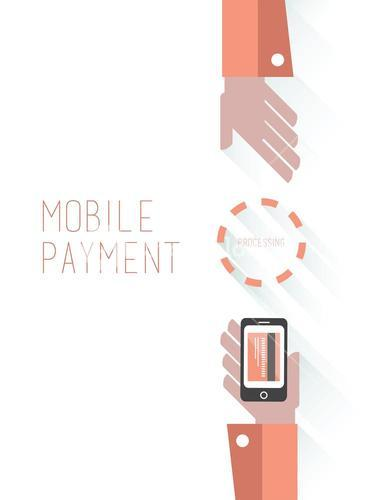 Mobile payment vector with text