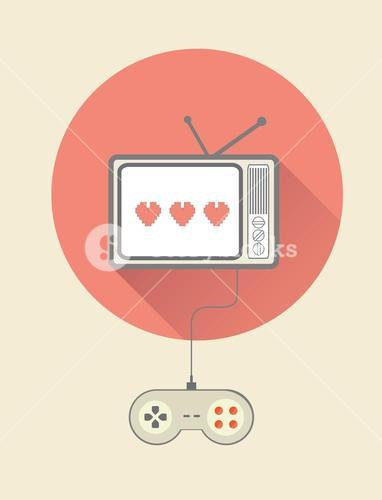 Retro video game on tv with controller