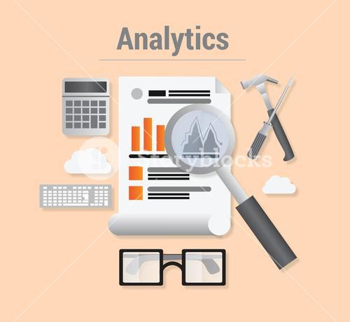 Analytics vector with data and magnifying glass
