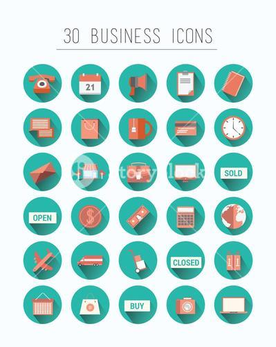 Thirty business icons vector in blue