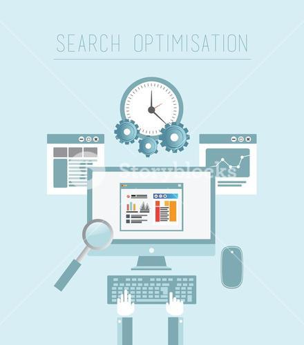 Search engine optimization vector in blue