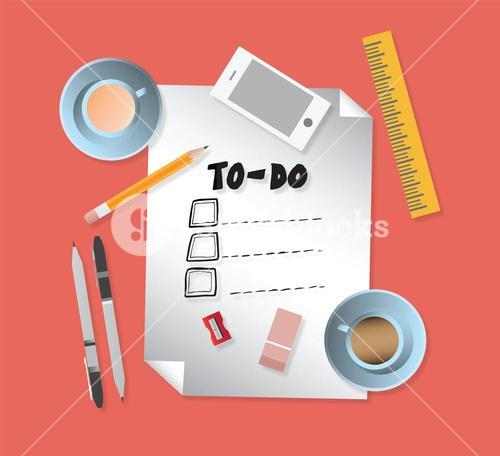 To do list with stationery vectors