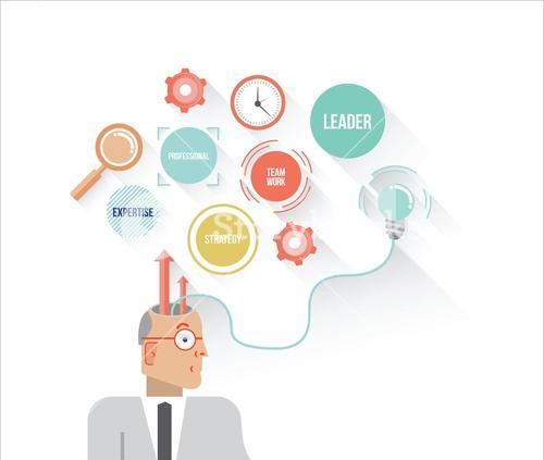 Businessman thinking concept illustration with icons