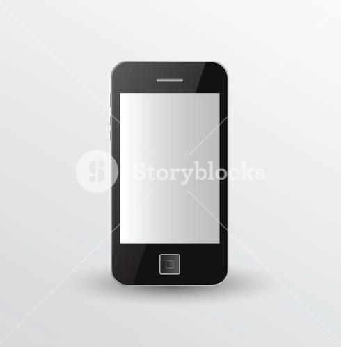 Smartphone standing on grey surface