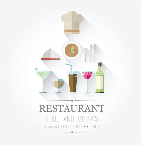 Food and drinks icons with text