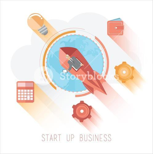 Start up business graphic with icons
