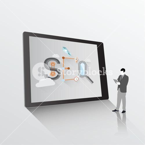 Search engine optimization graphic on tablet with businessman