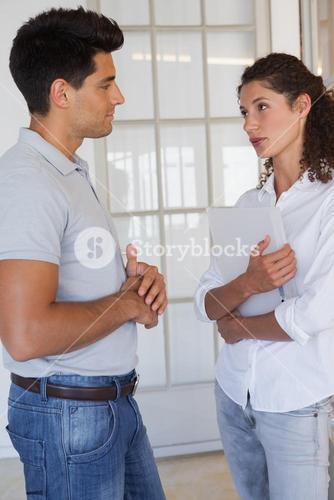 Casual business partners having a conversation