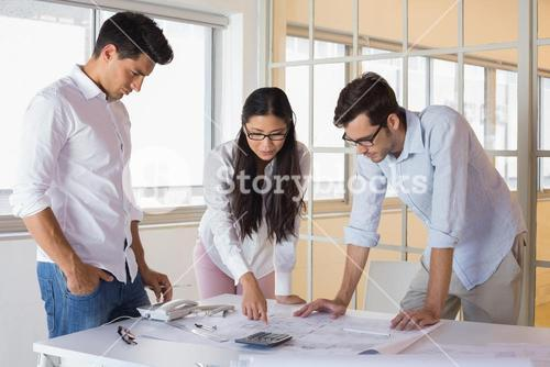 Casual architecture team working together