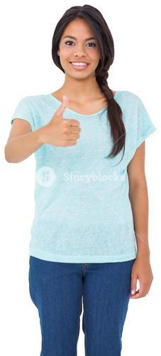 Happy brunette giving thumbs up