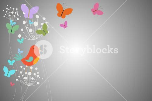 Feminine design of dandelions birds and butterflies