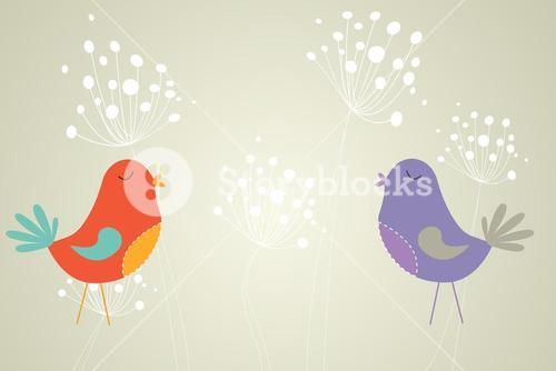 Feminine design of dandelions and birds