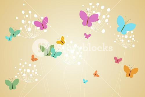 Feminine design of dandelions and butterflies