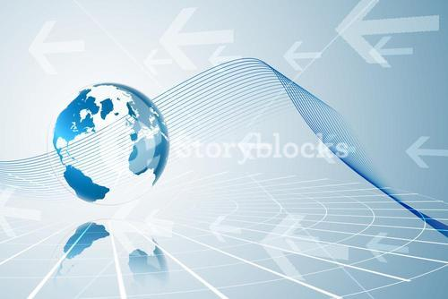 Global business graphic in blue