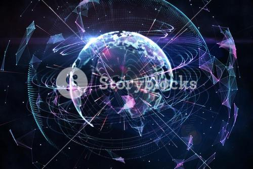 Global technology background in purple