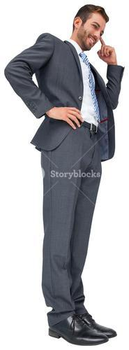Thinking businessman with hand on head