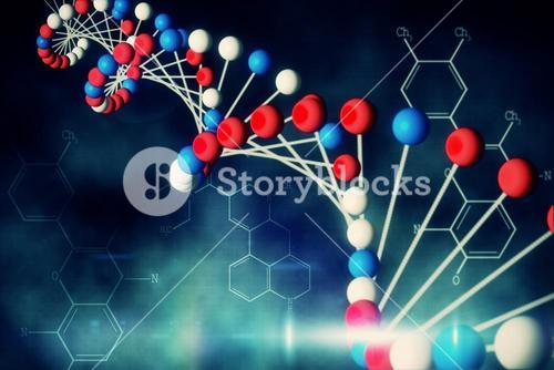 Blue DNA strand with chemical structures