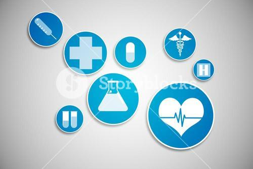 Medical icons in blue and white