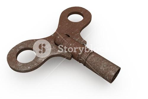 Digitally generated rusty old key