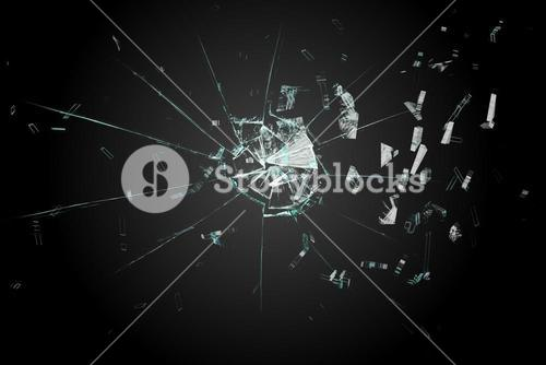 Shattered glass on black background