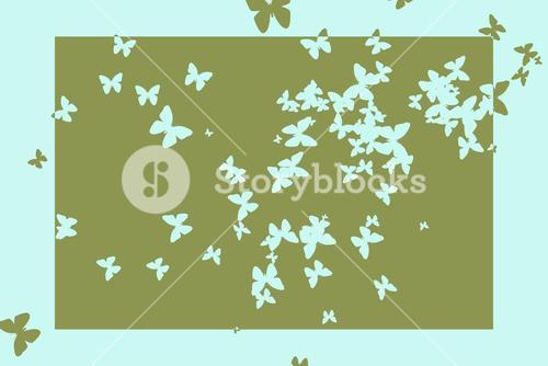 Stencil butterfly pattern design in green and blue