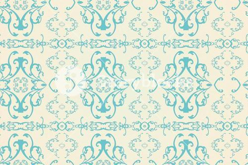 Elegant patterned wallpaper in blue and cream