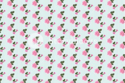 Kitsch floral pattern wallpaper with roses