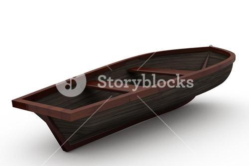 Brown wooden boat with shadow
