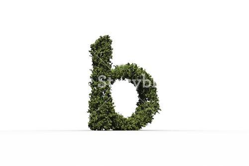 Lower case b made of leaves
