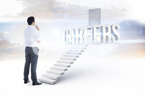 Careers against white steps leading to closed door