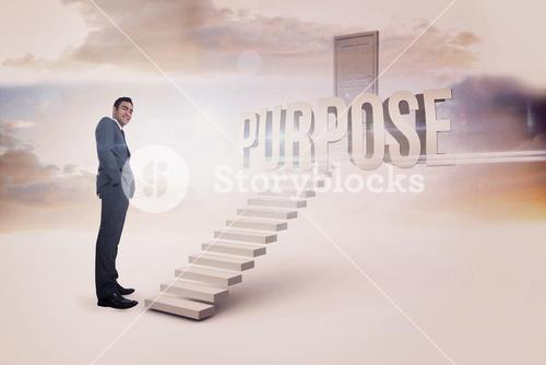 Purpose against white steps leading to closed door