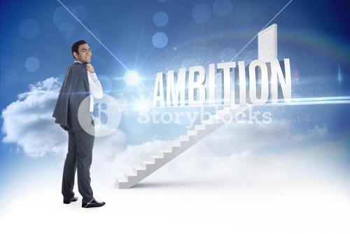 Ambition against steps leading to closed door in the sky