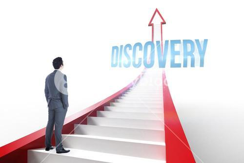 Discovery against red arrow with steps graphic