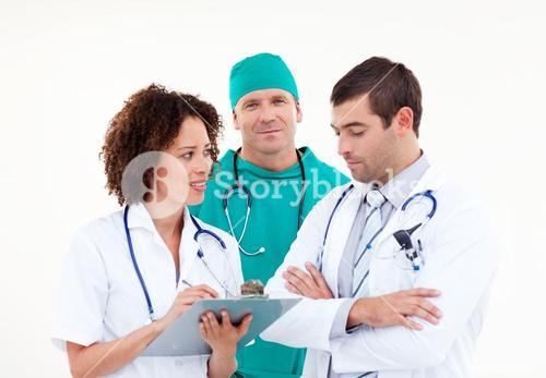 Group of professional doctors looking at the camera