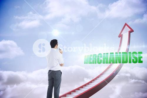 Merchandise against red stairs arrow pointing up against sky