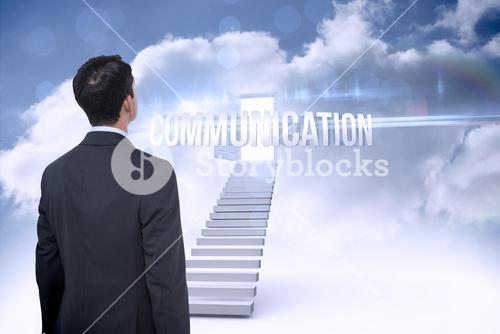 Communication against open door at top of stairs in the sky
