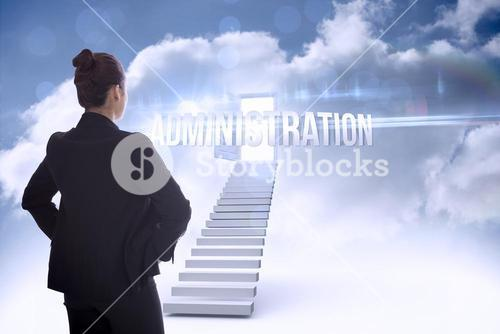 Administration against open door at top of stairs in the sky