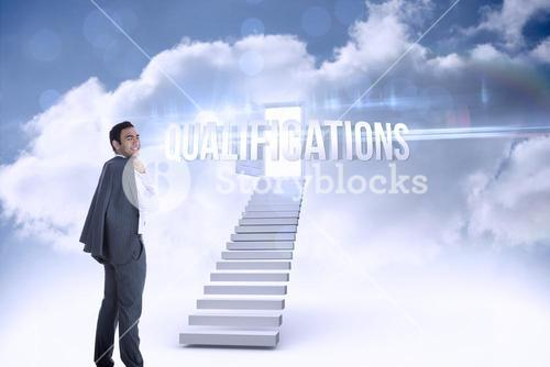 Qualifications against open door at top of stairs in the sky