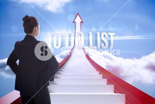 To do list against red steps arrow pointing up against sky