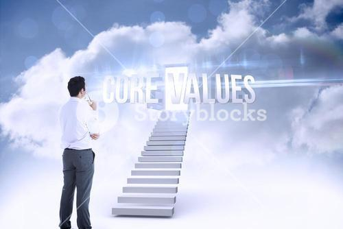 Core values against open door at top of stairs in the sky
