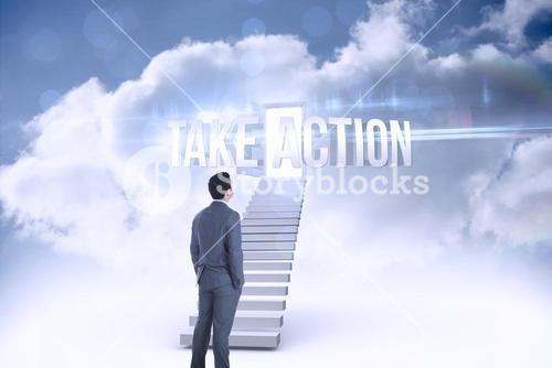 Take action against open door at top of stairs in the sky