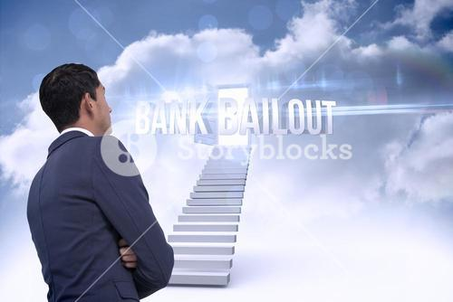 Bank bailout against open door at top of stairs in the sky
