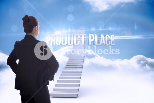 Product place against shut door at top of stairs in the sky