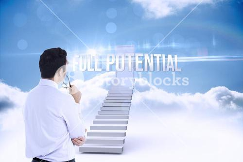 Full potential against shut door at top of stairs in the sky