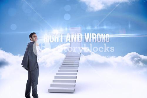 Right and wrong against shut door at top of stairs in the sky
