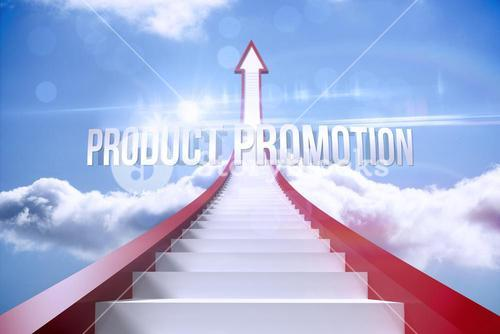 Product promotion against red steps arrow pointing up against sky
