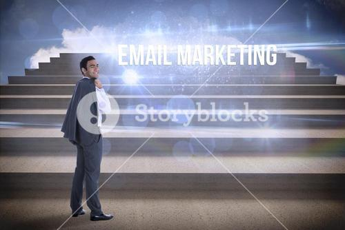Email marketing against steps against blue sky