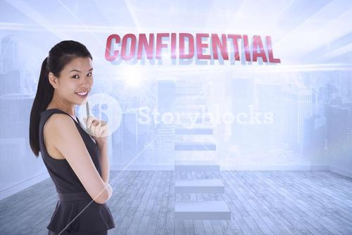 Confidential against city scene in a room