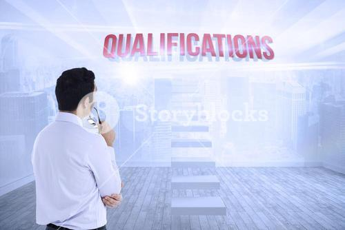 Qualifications against city scene in a room